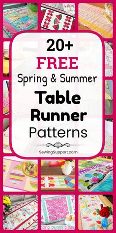 Table Runner Patterns for Spring & Summer. Free Spring & Summer Table Runner Patterns, tutorials, and diy sewing projects. Simple and easy runners to sew, plus ideas for quilted designs. Instructions for how to make table runners. Patchwork Table Runner, Table Runner And Placemats, Table Runner Pattern, Quilted Table Runners, Sewing Patterns Free, Pattern Sewing, Free Sewing, Quilt Patterns, Guter Rat