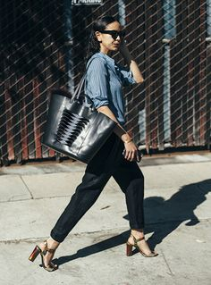 Ashley in Isabel Marant Étoile Shirt with Raquel Allegra Pant and Jerome Dreyfuss Tote   shopheist.com