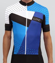 Asymmetric Blue cycling jersey. Combination of a juicy blue colors and classic white. Graphic elements in this jersey are arranged asymmetrically in order to maverick and eye-catching design.