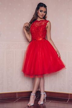 Cocktail dress by Kathia Dobo Red tulle skirt with lace Red Tulle Skirt, Prom Dresses, Formal Dresses, Cocktail Dresses, Ball Gowns, Barbie, Costumes, Lace, Board