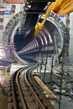 """""""Our tunnelling machines are constructing of new tunnels every fortnight. Civil Engineering Construction, Marine Engineering, Tunnel Boring Machine, Ing Civil, U Bahn, Industrial Photography, Train Layouts, Futuristic Architecture, Train Tracks"""