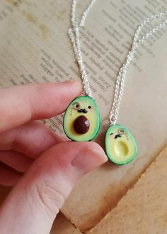 Polymer Clay Charms, Handmade Polymer Clay, Bff, Cute Avocado, Friendship Necklaces, Friend Necklaces, Miniature Food, Ball Chain, Gift For Lover