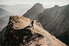 Bride and groom walking along a mountain ridge in Bavaria at sunset by Aneta Lehotska Blue Wedding Dresses, Bavaria, Wedding Shoot, Scenery, Groom, Germany, Wedding Inspiration, Walking, Romantic