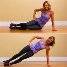 Start sitting on your left side with legs almost straight. Exhale, and lift your pelvis off the floor, coming into a side plank. Really lift your bottom hip up. Pull your shoulder blade down your back so your shoulder stays away from your ear (this will work your lat, too). Hold for five seconds. Lower your pelvis back to floor slowly and with control. Repeat a total of 10 times on each side.  Do 10 reps each side.