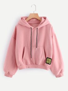 To find out about the Drop Shoulder Patch Detail Hoodie at SHEIN, part of our latest Sweatshirts ready to shop online today! Hoodie Sweatshirts, Pullover Hoodie, Sweater Hoodie, Hoody, Sweet Shirt, Jugend Mode Outfits, Vetement Fashion, Teen Fashion Outfits, Fashion Dresses