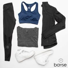 Todays workout outfit featuring Bayse Navy Sports bra, Sculpt Compression Mesh Tights, Grey Slouch Crew, Nike Shoes & Essential Jacket | BAYSE WOMENS ACTIVEWEAR, BASICS & ESSENTIALS | AUSTRALIA | streetstyle fashion style lifestyle activewear women grey sweater style health nutrition training fit active womens inspiration fitness womenswear athleisure