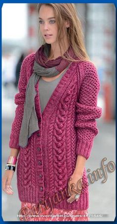 Жакет спицами Knit Cardigan Pattern, Sweater Knitting Patterns, Crochet Cardigan, Crochet Lace, Baby Knitting, Knit Art, Long Sweater Dress, Warm Outfits, Knit Jacket