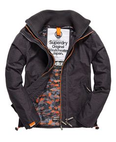 Shop Superdry Mens Pop Zip Windcheater Jacket in Mid Charcoal Marl/orange  Camouflage. Buy now with free delivery from the Official Superdry Store.