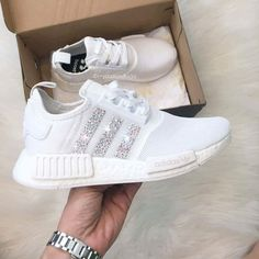 65f3bc6c7 Adidas NMD Runner Womens White Trainers with Swarovski Crystals