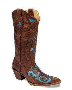 Corral Women's Brown Fango/Turqouise Lizard Inlay Boot - C2674