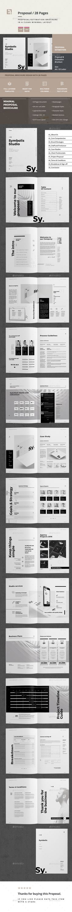 Proposal by egotype Proposal and Portfolio Template Minimal and Professional Proposal Brochure template for creative businesses, created in Adobe InDe