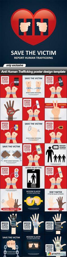 Anti Human Trafficking poster design template - 25 EPS