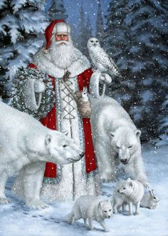 Diamond Painting - Snow Father Christmas - Floating Styles - Diamond Embroidery - Paint With Diamond - free worldwide shipping. We also offer tools like lighting pad, diamond painting kits including quick painting pens. Create Your Own Paint With Diamond Christmas Scenes, Noel Christmas, Father Christmas, Vintage Christmas Cards, Christmas Pictures, Winter Christmas, Christmas Glitter, Christmas Animals, Polar Bear Christmas