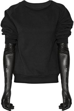 MAISON MARTIN MARGIELA, COTTON SWEATER WITH LEATHER GLOVES: detachable gloves that you can also unzip and wear as open sleeves.