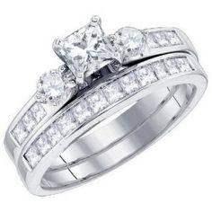 2 Carat Princess cut diamond wedding set on closeout sale