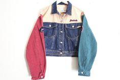 Image result for color block denim jacket