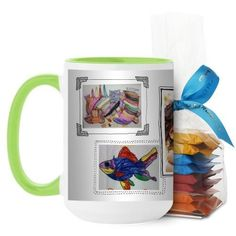 Pictures For Grandma Mug, Green, with Ghirardelli Minis, 15 oz, White