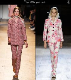1970s fashion at Paul & Joe and Victoria Beckham, S/S '15 is inspired by the pant suit style. Illustrating the most evocative of'70s  silhouettes, the pant suit is a definite staple for spring 2015. Seek it in feminine micro-paisley and large scale florals, teaming long-sleeved blazers with subtle flared bottoms. Style it with floral scarves, pointy flats or leather sandals. 4/4/15