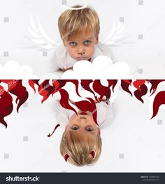 Naughty or good child for Christmas card? PF or letter to Santa-Claus for Christmas. Little child boy appearing as an adorable angelic devilStock Photo Kids Christmas, Christmas Cards, Little Children, Santa Letter, Kids Boys, Devil, Lettering, Stock Photos, Image