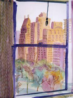 "lawrenceleemagnuson: "" David Hockney (UK b. View from the Mayflower Hotel, New York (Evening) 2002 watercolor and crayon on paper x cm "" David Hockney Artwork, David Hockney Ipad, Illustrations, Illustration Art, Pop Art Movement, Nyc Art, Ipad Art, Art Design, Gouache"