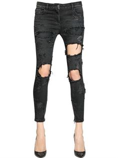 FAITH CONNEXION | DESTROYED STRETCH COTTON DENIM JEANS #style #black #jeans