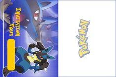 Carton d'invitation Lucario gratuit à imprimer pour un anniversaire pokemon