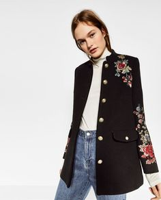 Zara Button Wool Plus Size Coats & Jackets for Women Military Inspired Fashion, Military Fashion, Casual Chic, Military Style Coats, Military Jacket, Embroidery Fashion, Mode Streetwear, Outerwear Women, Mode Style