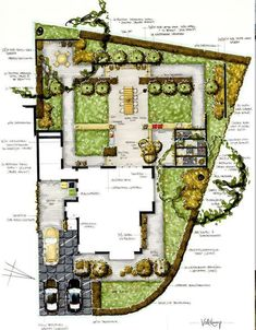 Private garden design of a project in Heemstede in the Netherlands. Landscape Architecture Drawing, Landscape Sketch, Landscape Concept, Garden Architecture, Landscape Drawings, Garden Design Plans, Landscape Design Plans, Garden Drawing, Private Garden