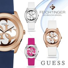 Guess Armbanduhr 🔸Gehäuse: Stahl 🔸Band: Silikonband mit Dornschließe 🔸Mineralglas 🔸3 ATM Wasserdicht 🔸Durchmesser ca. 40mm blau W0911L6, pink W0911L2, weiß W0911L1, weiß+rose W0911L5  #armbanduhr #watch #watches #damen #woman #feichtinger #feichtingerschmuck #schmuckhandelfeichtinger #jewellery #madeinaustria