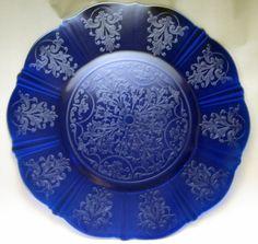 "Extremely Rare MacBeth-Evans Cobalt Blue Depression Glass American Sweetheart 15"" Server Plate"