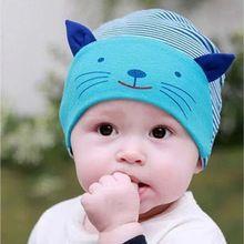 Hot suave bebê algodão gato Stripe Beanie chapéu meninos meninas infantil recém-nascido crianças Cap(China (Mainland))