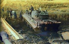 Panzerkampfwagen VI 'Tiger', Ausf. E, Sd.Kfz. 181, #332 of 3./Schwere Panzer-Abteilung 503 (3./s.Pz.Abt.503), stuck in the mud on the banks of a river near the town of Znamenka, Tambovskaya oblast, Soviet Union. October 4 1943. In October 1943, the battalion was in a rest area near Znamenka, where it had time to maintain and repair vehicles and conduct training.