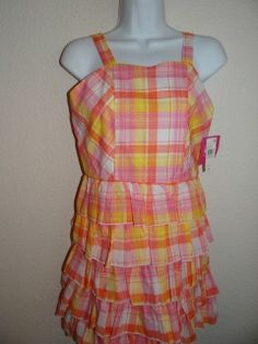NWT GIRL'S PINK/MULTI-COLOR 100% COTTON PLAID/LAYERED DRESS SIZE 10 & 16