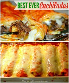 are the BEST EVER Enchiladas - you've gotta try it to see for yourself. I gotta warn you though, they're addictive!These are the BEST EVER Enchiladas - you've gotta try it to see for yourself. I gotta warn you though, they're addictive! I Love Food, Good Food, Yummy Food, Beef Dishes, Food Dishes, Hamburger Meat Dishes, Mexican Dishes, Mexican Food Recipes, Mexican Meat