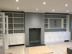 Farrow & Ball Paint Colours in My Home – Just A Little Build - Modern Farrow And Ball Living Room, Feature Wall Living Room, Farrow And Ball Paint, Farrow Ball, Alcove Ideas Living Room, Living Room Shelves, Home Living Room, Living Room Designs, Room Ideas