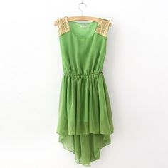 green asymmetrical dress
