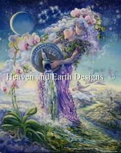 Aquarius - Painting by Josephine Wall.  Chart design by Michele Sayetta for Heaven and Earth Designs.