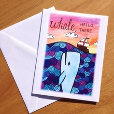 Just Because Card Whale Hello There by PaisleyandHazel on Etsy