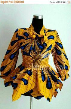 ON SALE Elegant African print Bow Top Ankara Asymmetric