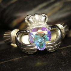 Mercury mist mystic topaz Claddagh ring in sterling by nellyvansee, $125.00