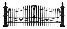 Antique Images: Free Antique Graphic for Halloween: Spooky Wrought Iron Fence Illustration with Black Cat Head Design