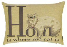 Home Is Where My Cat Is Belgian Tapestry Cat Cushions http://www.abentleycushions.co.uk/detail.asp?pID=5653