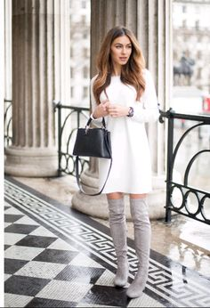 Lydia Elise Millen looks effortlessly sophisticated in this little white dress, paired with grey thigh high boots and accessorised with a minature box bag from Louis Vuitton. Winter Wedding Outfits, Fall Winter Outfits, Autumn Winter Fashion, Mode Outfits, Fashion Outfits, Fashion Fashion, Dress Outfits, Fashion Ideas, Vintage Fashion
