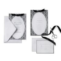 Black & White Damask Oval Invitation Kit