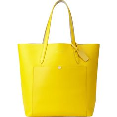Smythson Panama Tote (18,640 PHP) ❤ liked on Polyvore featuring bags, handbags, tote bags, bolsas, yellow, mini purse, mini tote, genuine leather purse, leather handbags and yellow leather purse