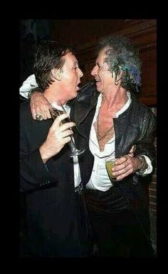 Paul McCartney and Keith Richards, drunk as skunks.