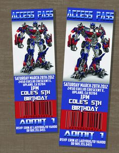 Transformers Birthday Optimus Prime Ticket Invite. $10.00, via Etsy.
