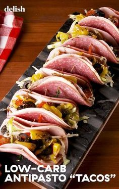 """Full Body Weight Loss Diet Low-Carb Antipasto """"Tacos"""" Will Fill You Up Without Weighing You DownDelish.Full Body Weight Loss Diet Low-Carb Antipasto """"Tacos"""" Will Fill You Up Without Weighing You DownDelish Healthy Recipes, Low Carb Recipes, Diet Recipes, Cooking Recipes, Smoothie Recipes, Smoothie Diet, Snack Recipes, Low Carb Food, Low Carb Meals"""