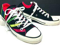 418121c1e Converse Chuck Taylor CT Women s Ox Neon Ribbon Applique Shoes Black 531739  Sz 7  Converse  Athletic