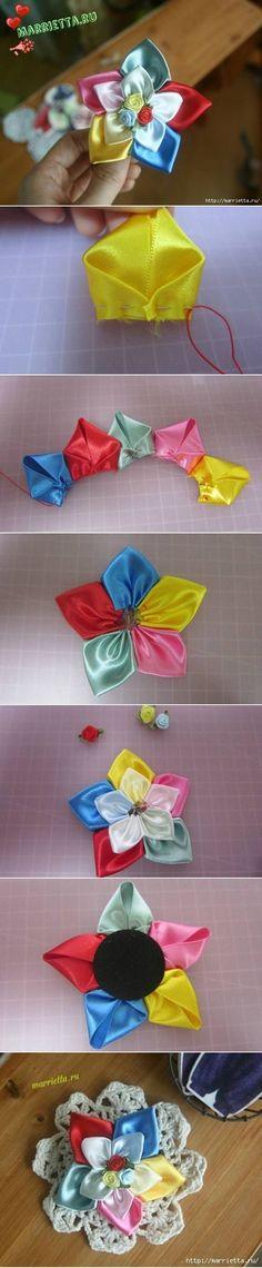 flor de raso de colores